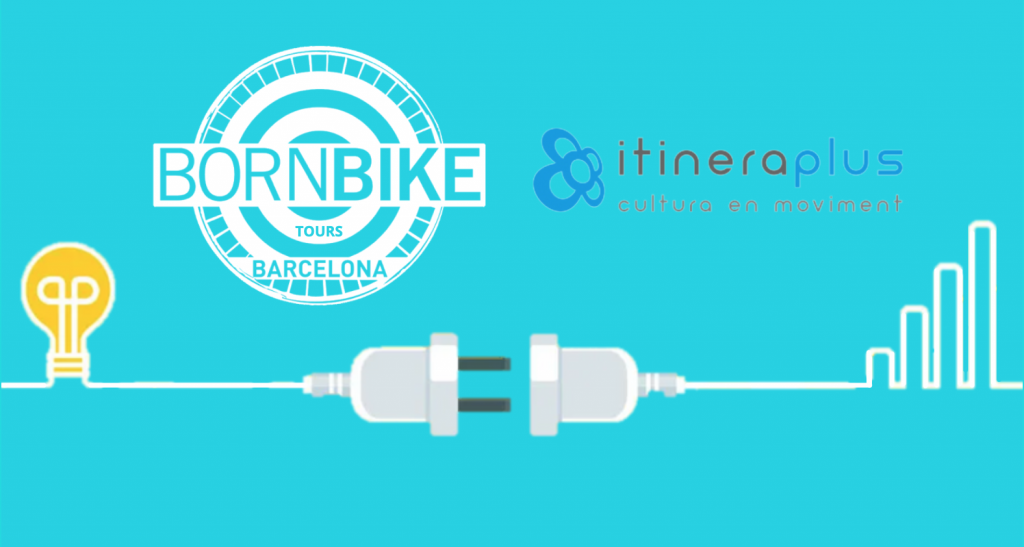 an image contains text, Born Bike Tours Barcelona, Bike Tours guiadas, Itineraplus, visitas culturales, Barcelona, Spain, Born Bike Tours Barcelona logo, Itineraplus logo, connected outlet, acquisition of a new business, discover itineraplus