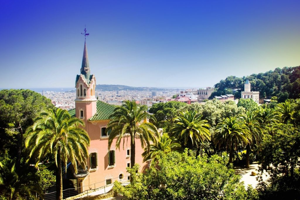 image containing trees, building, view of barcelona city