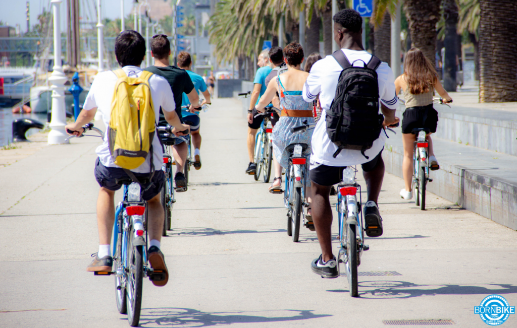 An image which contain bikes, people, road, trees, beach tour, born bike tours Barcelona
