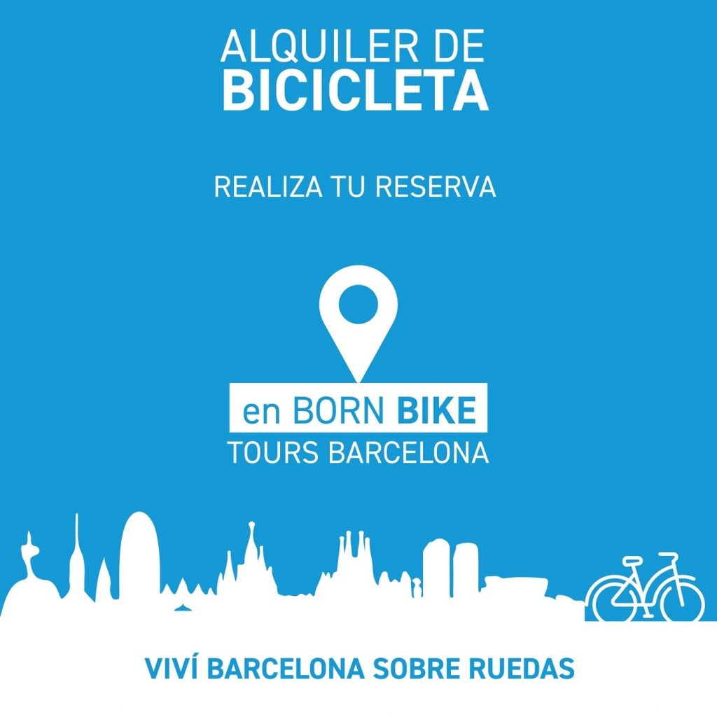 image that contain text, bike rent, born bike tours Barcelona