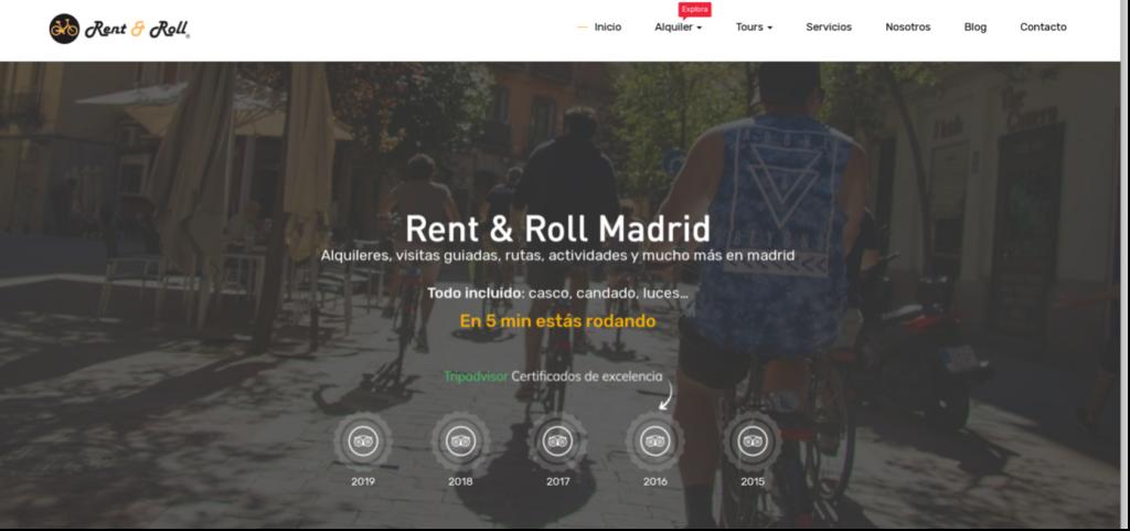 image d'une page internet de Rent & Roll, vélo, Madrid