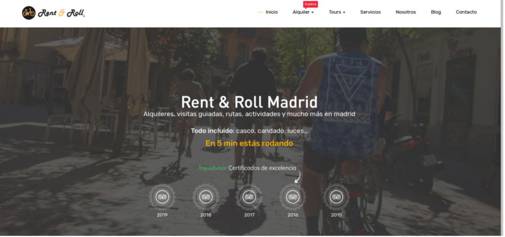 image of a website named Rent & Roll Madrid, bikes rent