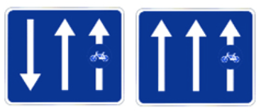 this picture shows the cycle lane or cycle lane attached to the roadway's signal