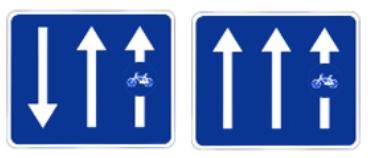 cette image montre le panneau piste cyclable ou voie cyclable adossée à la chaussée