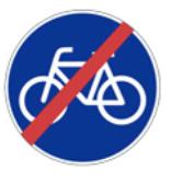 cette image montre le panneau de fin de voie réservée aux vélos ou voie cyclable