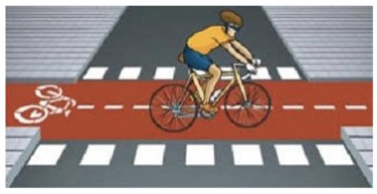cette image montre le marquage de passage pour les vélos
