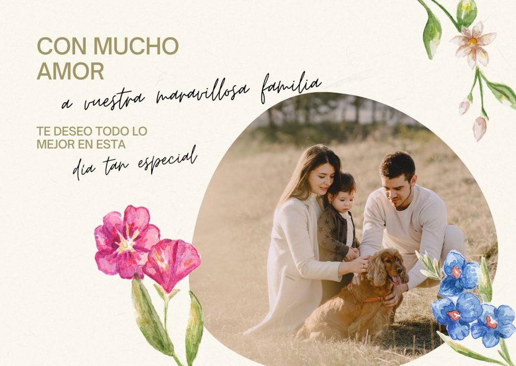 imagen que contiene una carta feliz día internacional de la familia, flores, textos, fotos de una familia con un perro, Born Bike tours Barcelona