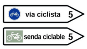 this picture shows the destination sign for a bicycle lane or cycle path's signal