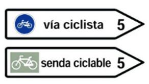 esta imagen presenta la señal de destino hacia una vía ciclista o senda ciclable