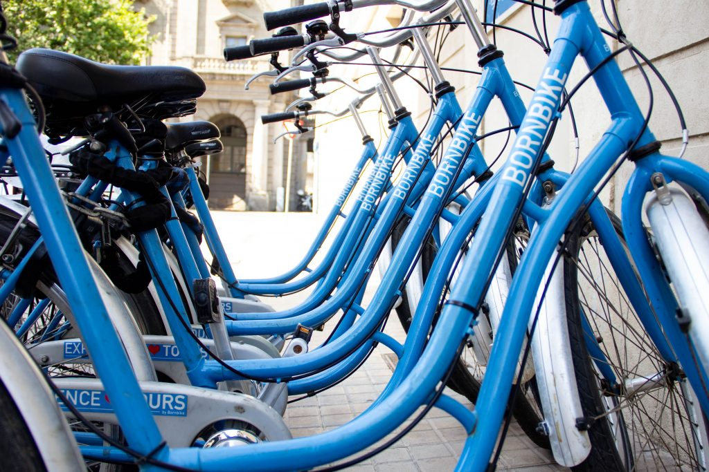 this picture shows the blue bicycles that we have in Born Bike Tours Barcelona
