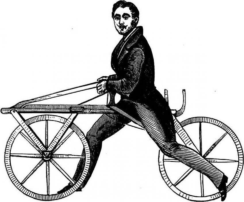 bicicleta draisiana inventada por Karl Drais von Sauerbronn en 1817