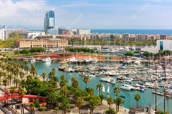 Barceloneta puerto barco hotel bario Barcelone